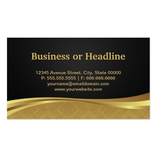 Attorney Lawyer Justice Elegant Black Gold Damask Business Cards (back side)
