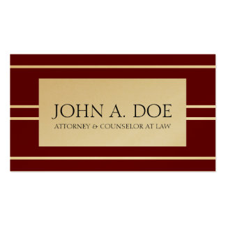 Attorney Lawyer Law Firm Cherry Gold White Stripes Business Card