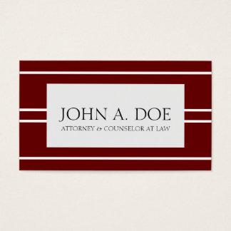 Attorney Lawyer Law Firm Dark Cherry White Stripes Business Card