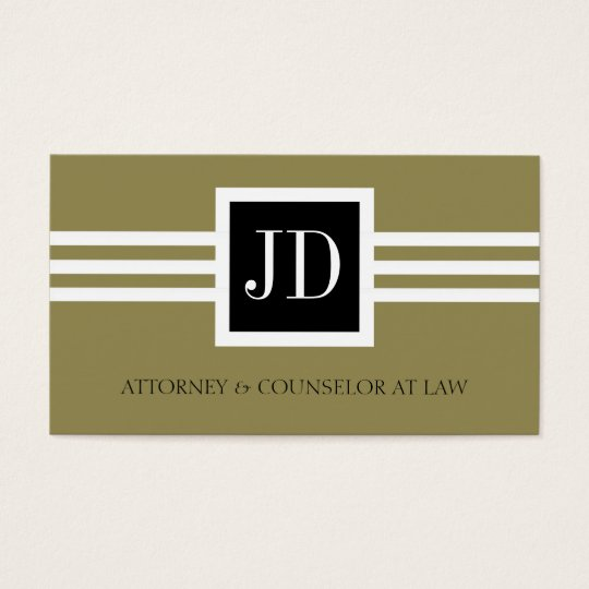 Attorney Lawyer Law Firm Monogram Gold Black Business Card