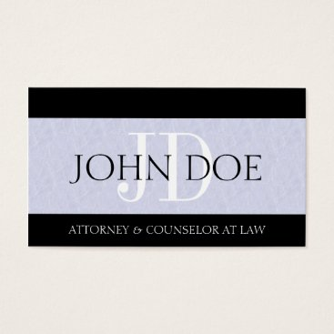 Lawyer Themed Attorney Lawyer Law Firm Monogram Light Blue Sky Business Card