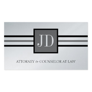 Attorney Lawyer Law Firm Monogram Platinum Paper Business Card Template