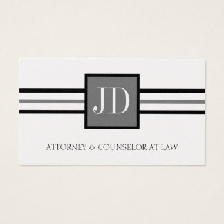 Attorney Lawyer Law Firm Monogram Platinum Paper Business Card