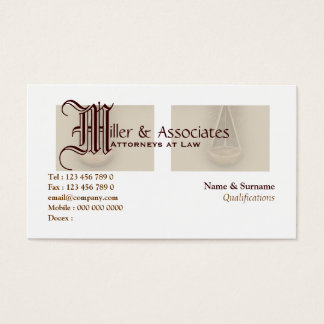 Attorney lawyer law legal business card