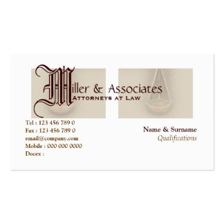 Attorney lawyer law legal business cards