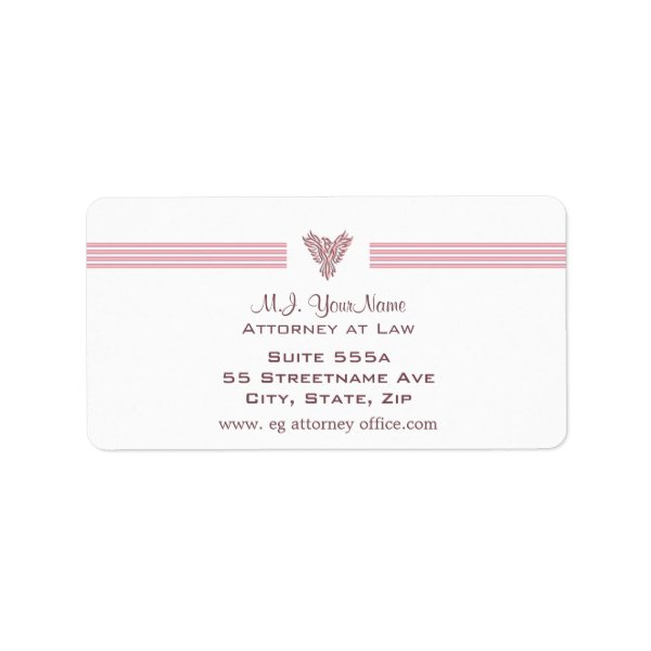 Attorney / Lawyer luxury stripes and pink phoenix Label