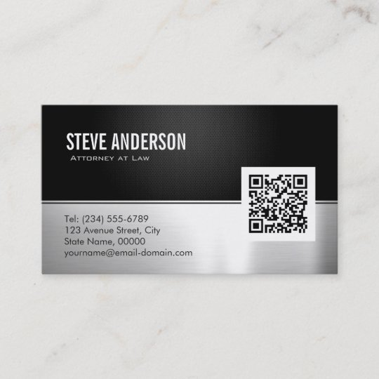 Attorney lawyer modern black metal silver qr code business card attorney lawyer modern black metal silver qr code business card reheart Images
