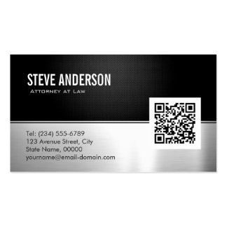 Attorney Lawyer Modern Black Metal Silver QR Code Double-Sided Standard Business Cards (Pack Of 100)