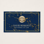 Attorney Lawyer Modern Navy & Gold Marble Business Card