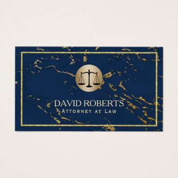 Lawyer Themed Attorney Lawyer Modern Navy & Gold Marble Business Card