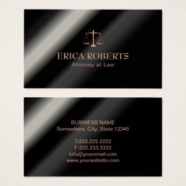 Lawyer Themed Attorney Lawyer Rose Gold Scale of Justice Metal Business Card
