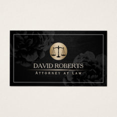 Attorney Lawyer Simple Framed Elegant Black Floral Business Card at Zazzle