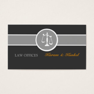 Attorney Legal Justice Scales Black White Gray Business Card