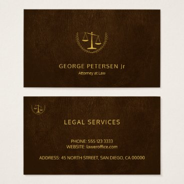 Lawyer Themed Attorney luxury gold scale brown leather look business card