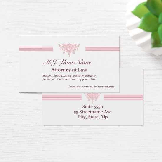 Attorney luxury stripes and pink Justice emblem Business Card