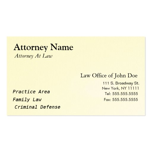 Attorney Modern - Simple, Clean, Elegant Double-sided Standard Business Cards (pack Of 100)