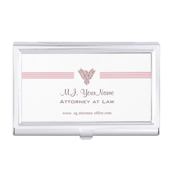 Attorney or Lawyer luxury stripes and pink phoenix Case For Business Cards