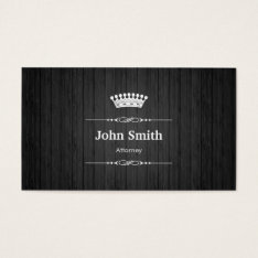 Attorney Royal Black Wood Grain Business Card at Zazzle
