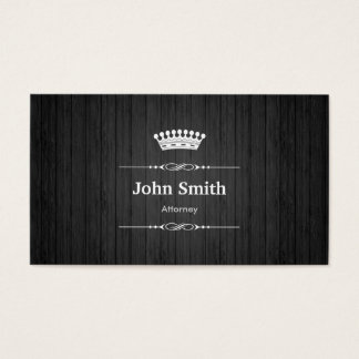 Attorney Royal Black Wood Grain Business Card