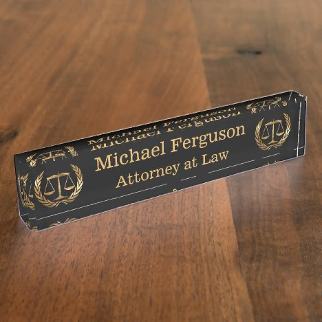 Attorney Scales of Justice Black and Gold Name Plate