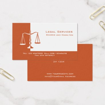 Lawyer Themed Attorney Scales of Justice Business Card