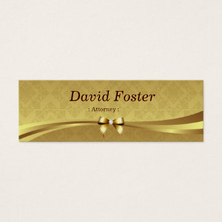 Attorney - Shiny Gold Damask Mini Business Card