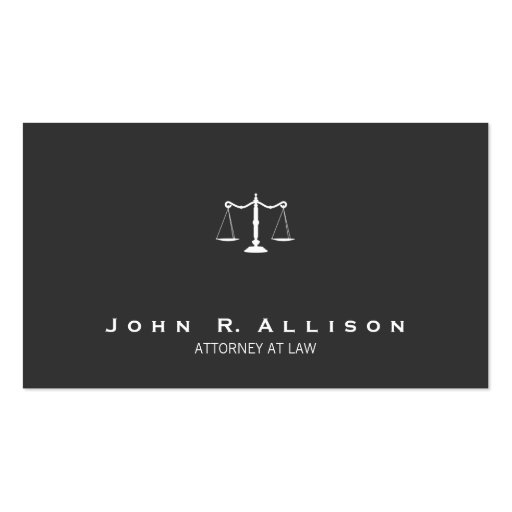 Attorney Simple Justice Scales Black and White Business Card