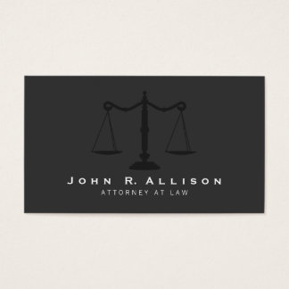 Attorney Simple Justice Scales Black Business Card