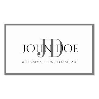 Attorney White/Graphite Monogram/Border Business Card