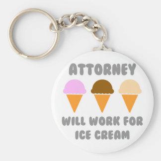Attorney ... Will Work For Ice Cream Basic Round Button Keychain