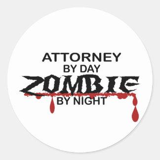 Attorney Zombie Classic Round Sticker