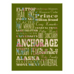 Attraction & Famous Places of Anchorage, Alaska Print
