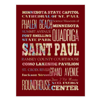 Attraction & Famous Places of St Paul, Minnesota Posters