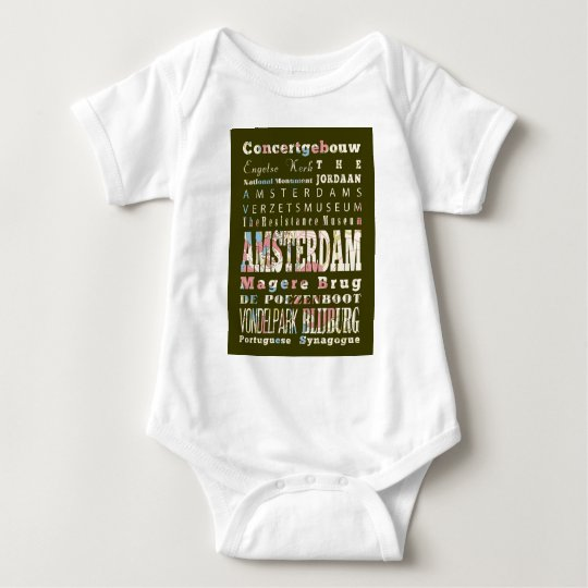 Attractions and Famous Places of Amsterdam Baby Bodysuit