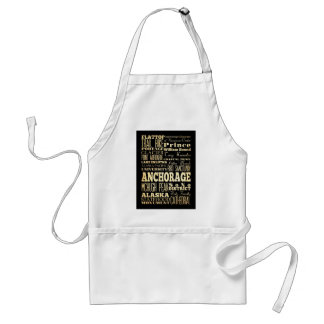 Attractions and Famous Places of Anchorage, Alaska Adult Apron