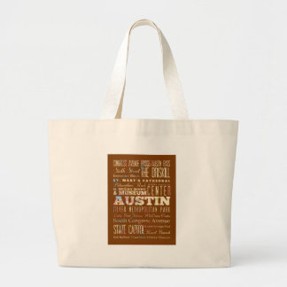 Attractions and Famous Places of Austin, Texas Large Tote Bag