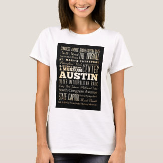 Attractions and Famous Places of Austin, Texas T-Shirt