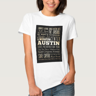 Attractions and Famous Places of Austin, Texas Tee Shirt