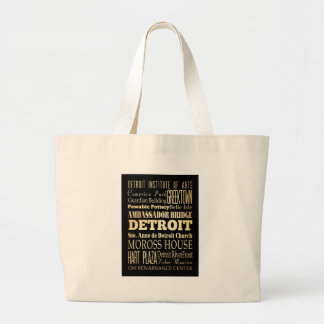 Attractions and Famous Places of Detroit, Michigan Large Tote Bag