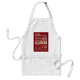 Attractions and Famous Places of Kansas, U.S Adult Apron