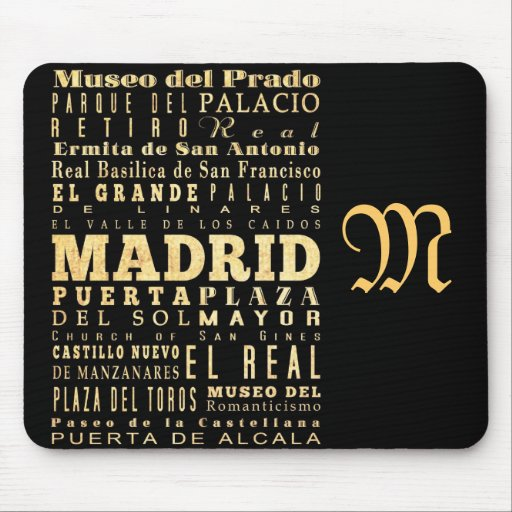 Attractions and Famous Places of Madrid, Spain Mousepad