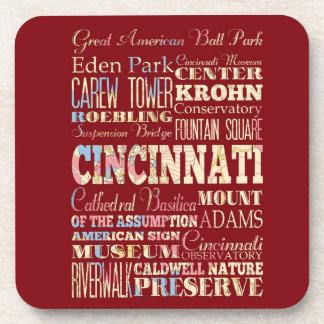 Attractions & Famous Places Cincinnati, Ohio. Drink Coasters