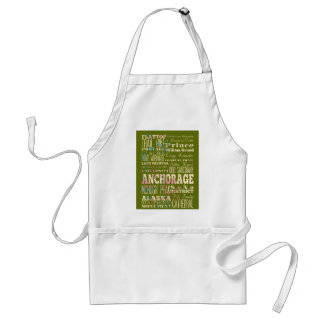 Attractions & Famous Places of Anchorage, Alaska. Adult Apron