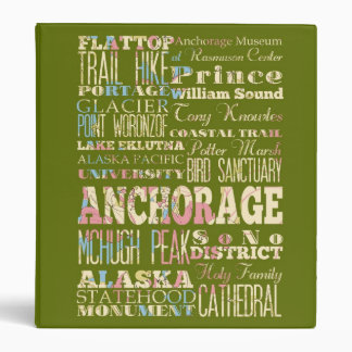 Attractions & Famous Places of Anchorage, Alaska. Vinyl Binder