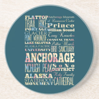 Attractions & Famous Places of Anchorage, Alaska. Drink Coaster