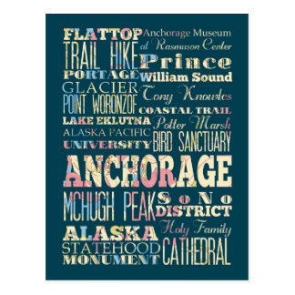 Attractions & Famous Places of Anchorage, Alaska. Postcard