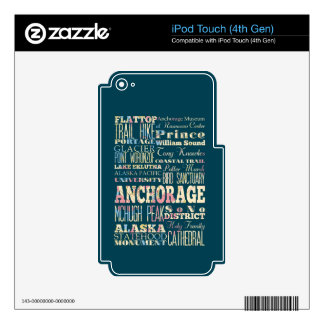 Attractions & Famous Places of Anchorage, Alaska. Decal For iPod Touch 4G