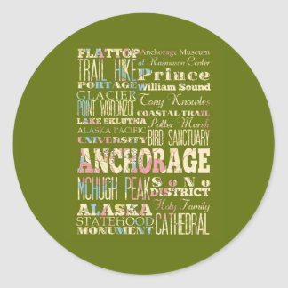 Attractions & Famous Places of Anchorage, Alaska. Stickers
