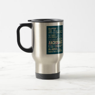 Attractions & Famous Places of Anchorage, Alaska. Travel Mug