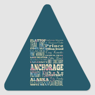 Attractions & Famous Places of Anchorage, Alaska. Triangle Sticker